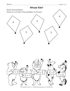 math worksheet addition to 6