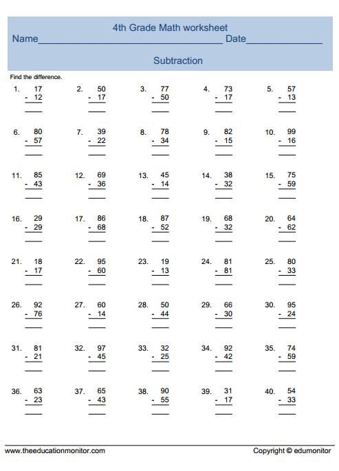 fourth grade math worksheet  EduMonitor