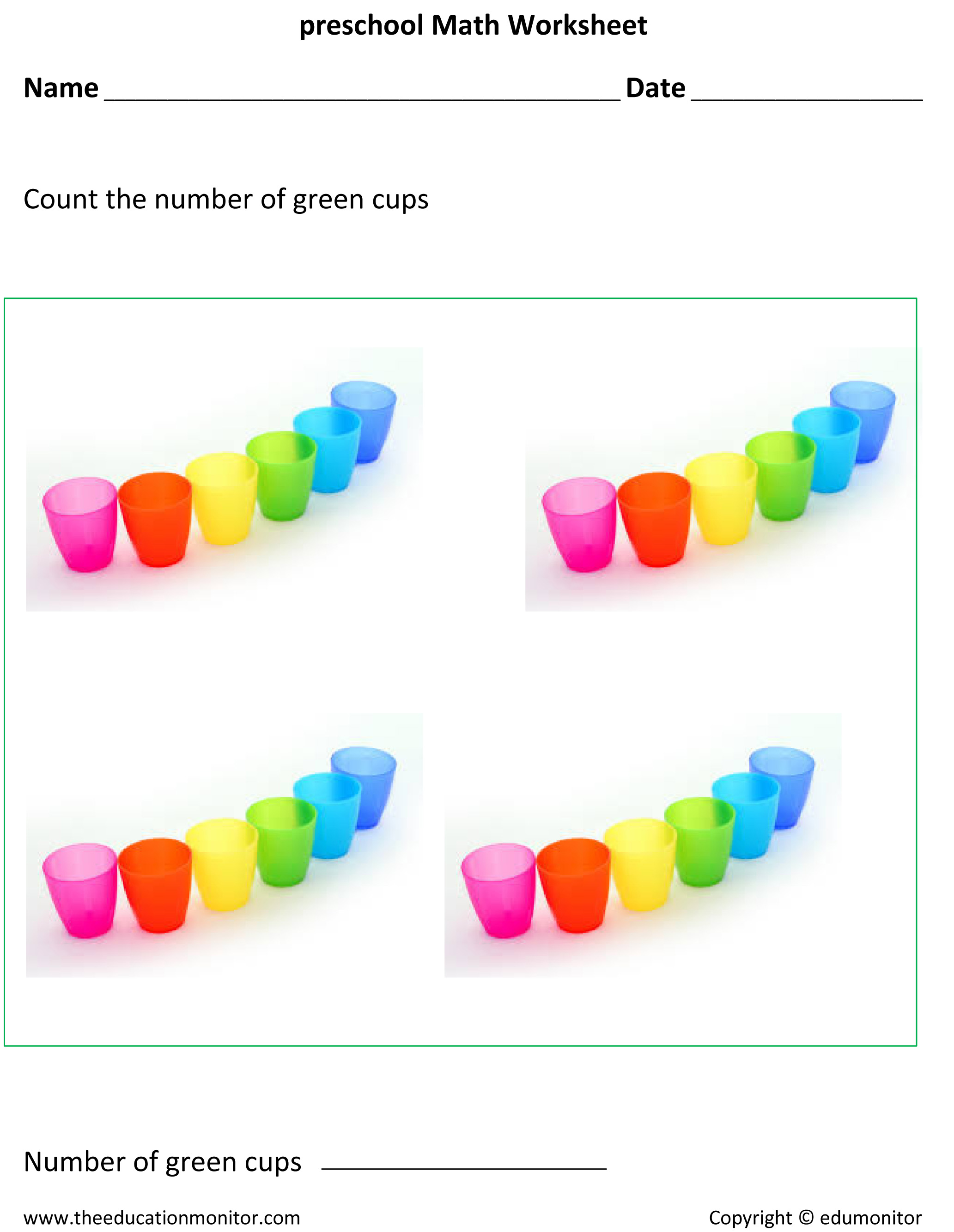 Free Preschool Counting Worksheet