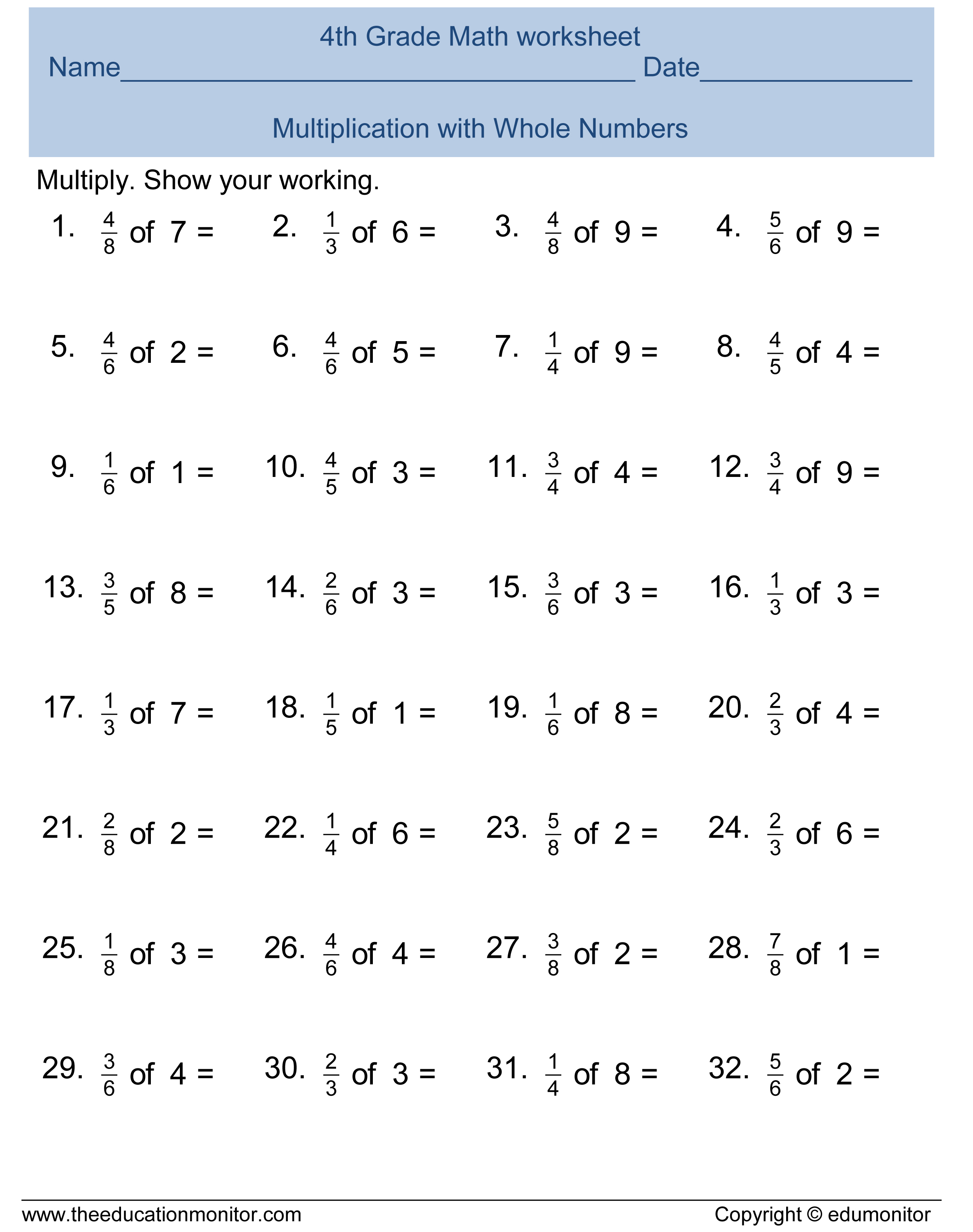 Multiplying Fractions Worksheet 4th Grader
