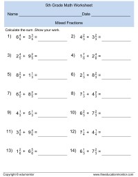 Mixed Fractions Math Worksheet  EduMonitor