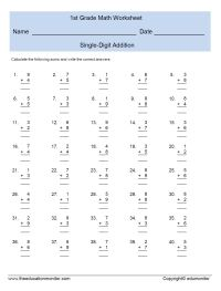 Single Digit Addition Worksheets for First Grade  EduMonitor