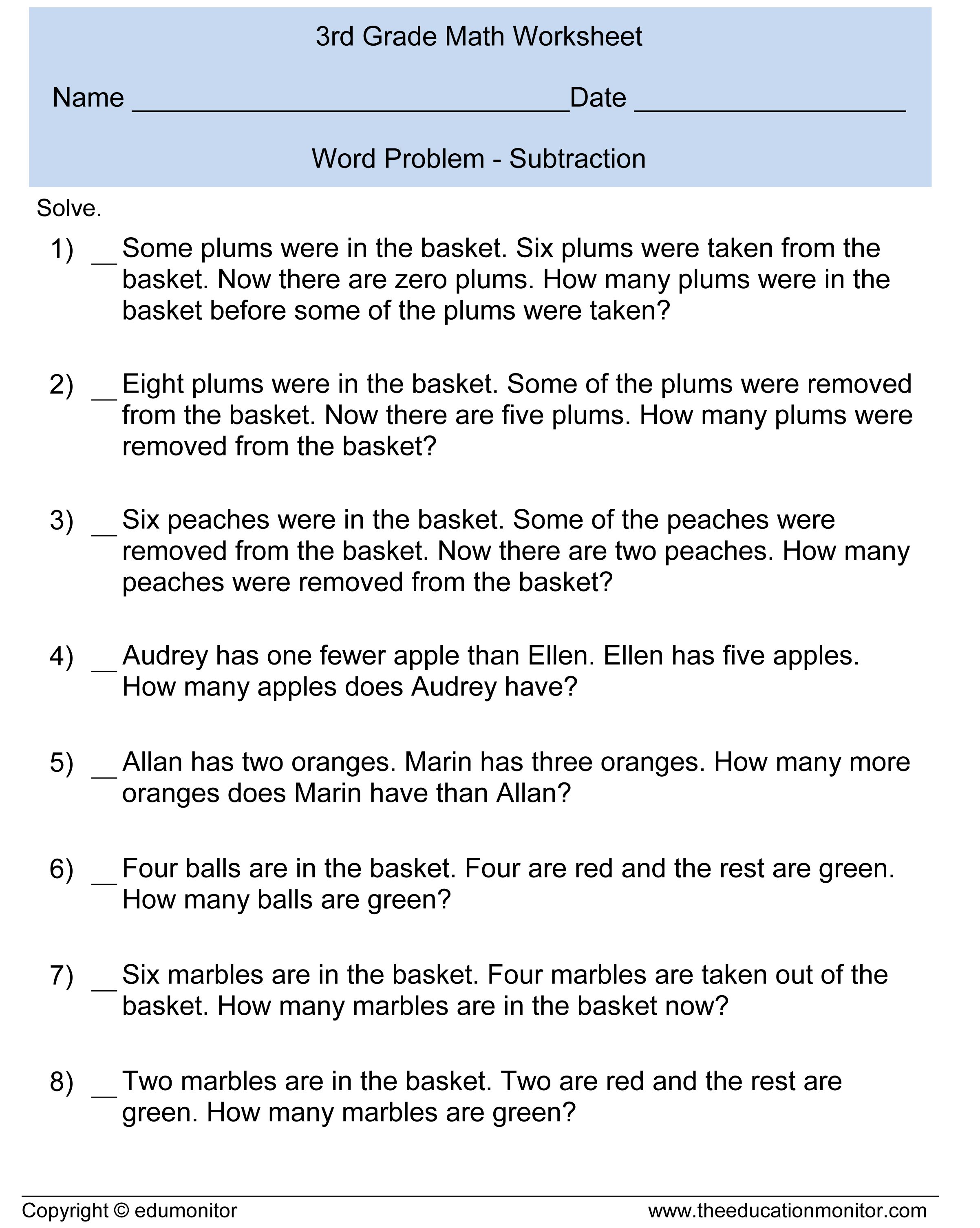 Worksheet Third Grade Math Word Problems Grass Fedjp