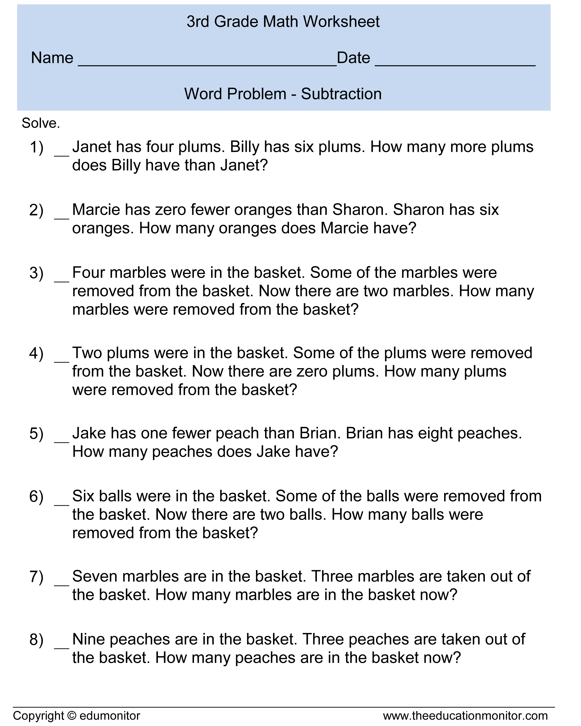 Subtraction Word Problems 3rd Grade For Your Kids