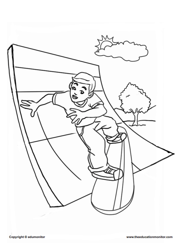 Free skate boarding coloring page for your kids