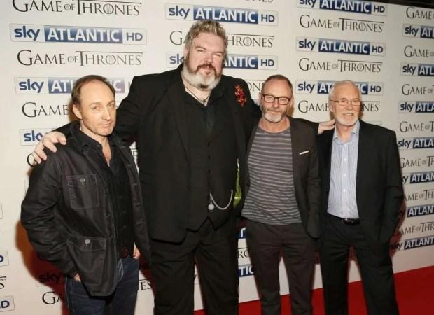 Michael McElhatton,  Kristian Nairn, Liam Cunningham and Ian McElhinney arrive at the Irish premiere of Game of Thrones Season 4 on Wednesday night.