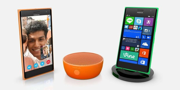 The Nokia Lumia 735 with wireless speaker.