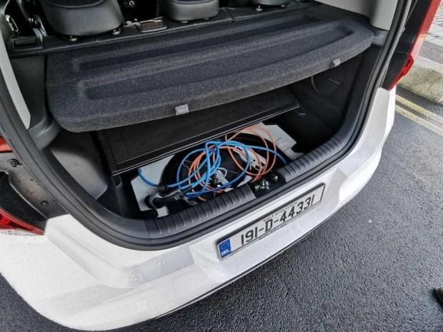 Kia e-Soul cable storage under the boot floor