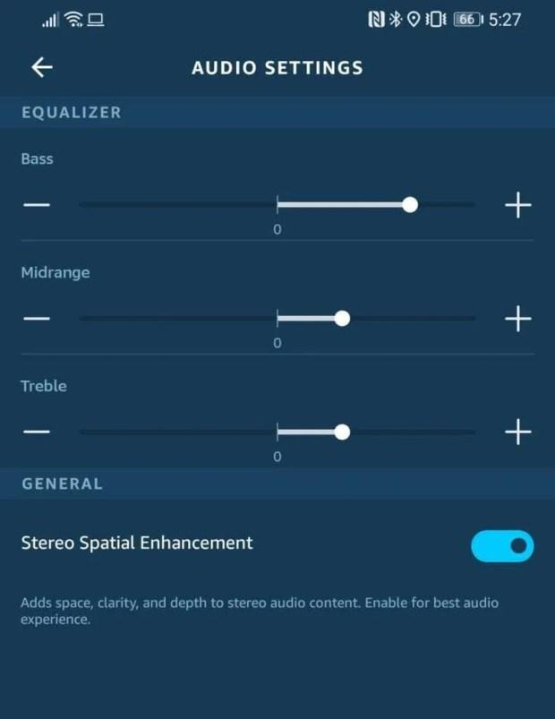 Amazon Alexa App stereo spatial enhancement