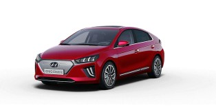 Red IONIQ Electric 2020 with white background