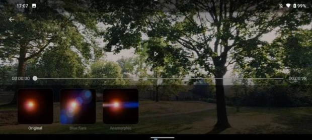 Nokia 8.3 5G lens flare effect - video editor