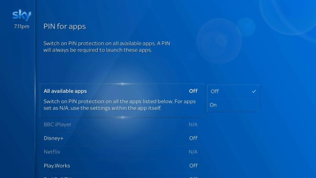 Pin for Apps Sky Q