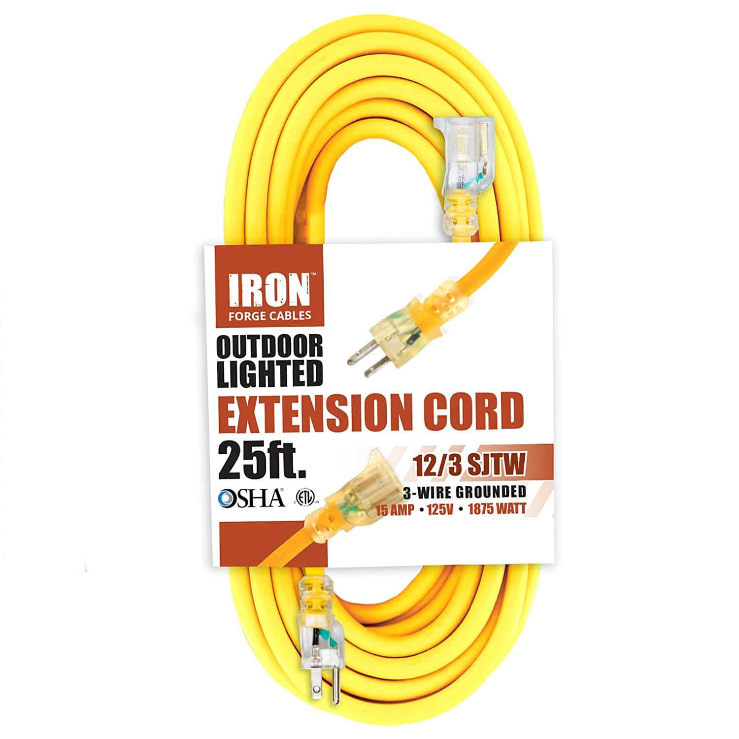 hight resolution of outdoor lighted extension cord 25ft osha approved