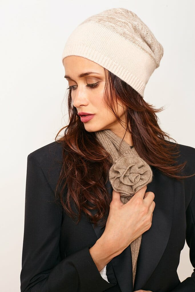 PORTOLANO Ladies Rose Scarf - Oatmeal