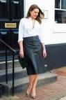 Black Leather Skirt White Shirt
