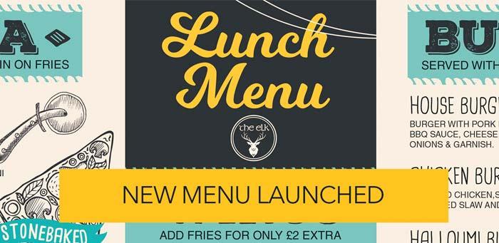new lunch menu at the elk