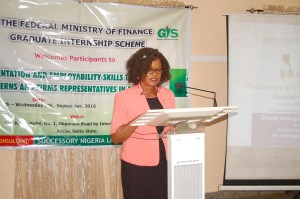 Mrs Ifejieko presenting the Director GIS speech at the opening ceremony