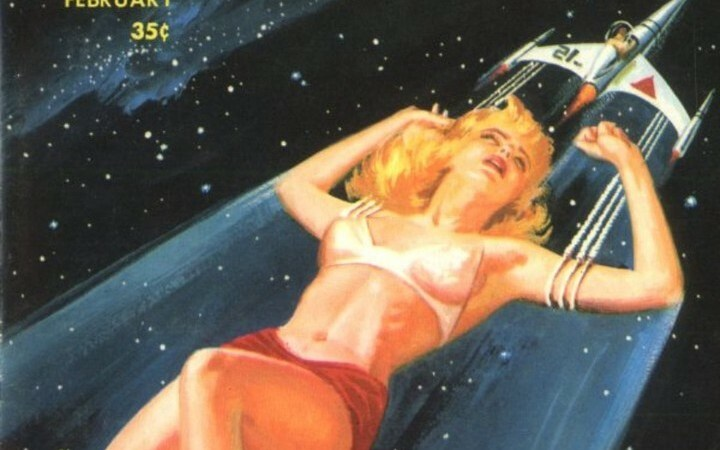 Is this woman really big or the spaceship really small? In either case, I suppose that means the magazine is well named – Fantastic!