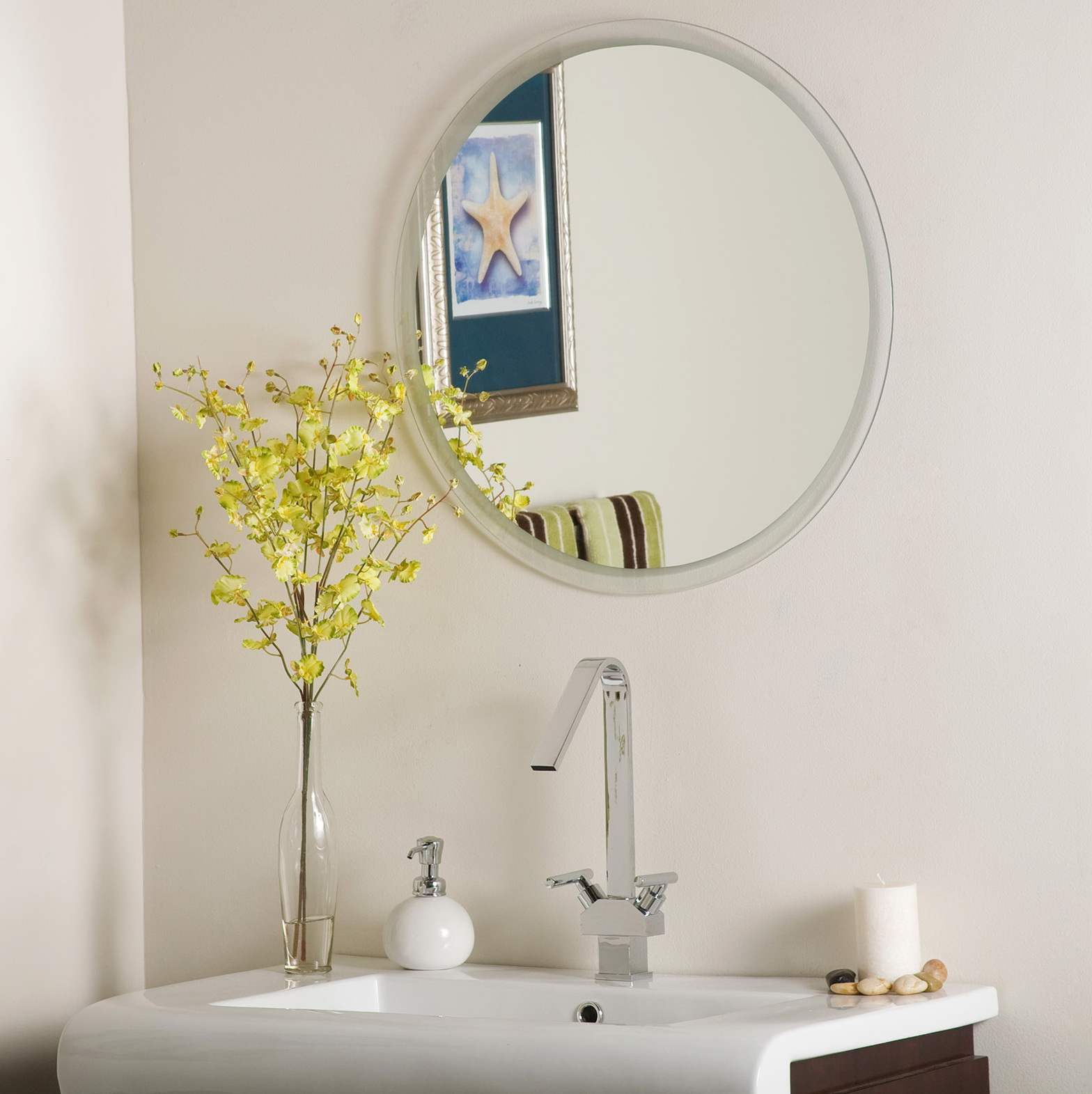 bathroom frameless mirror
