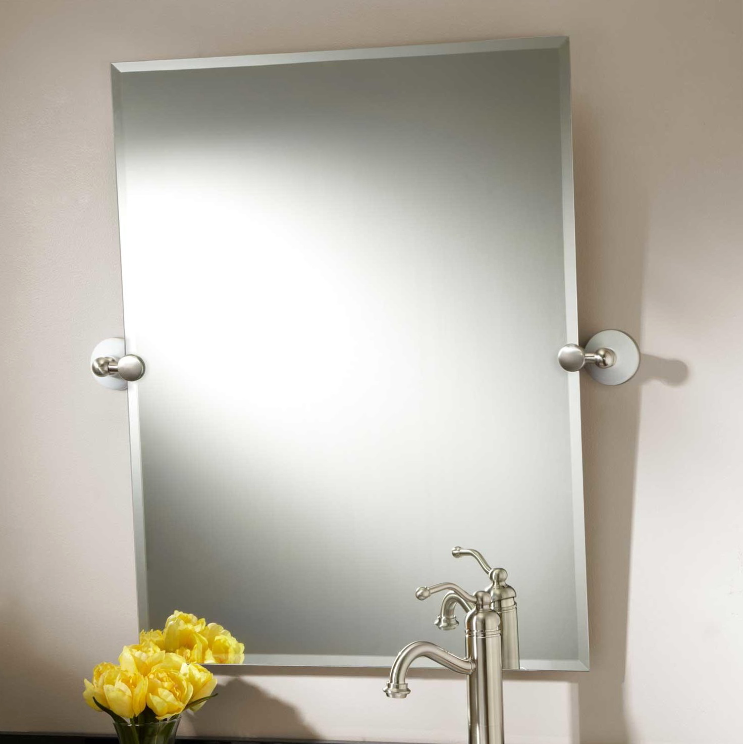 Brushed Nickel Framed Bathroom Mirror  Home Design Ideas