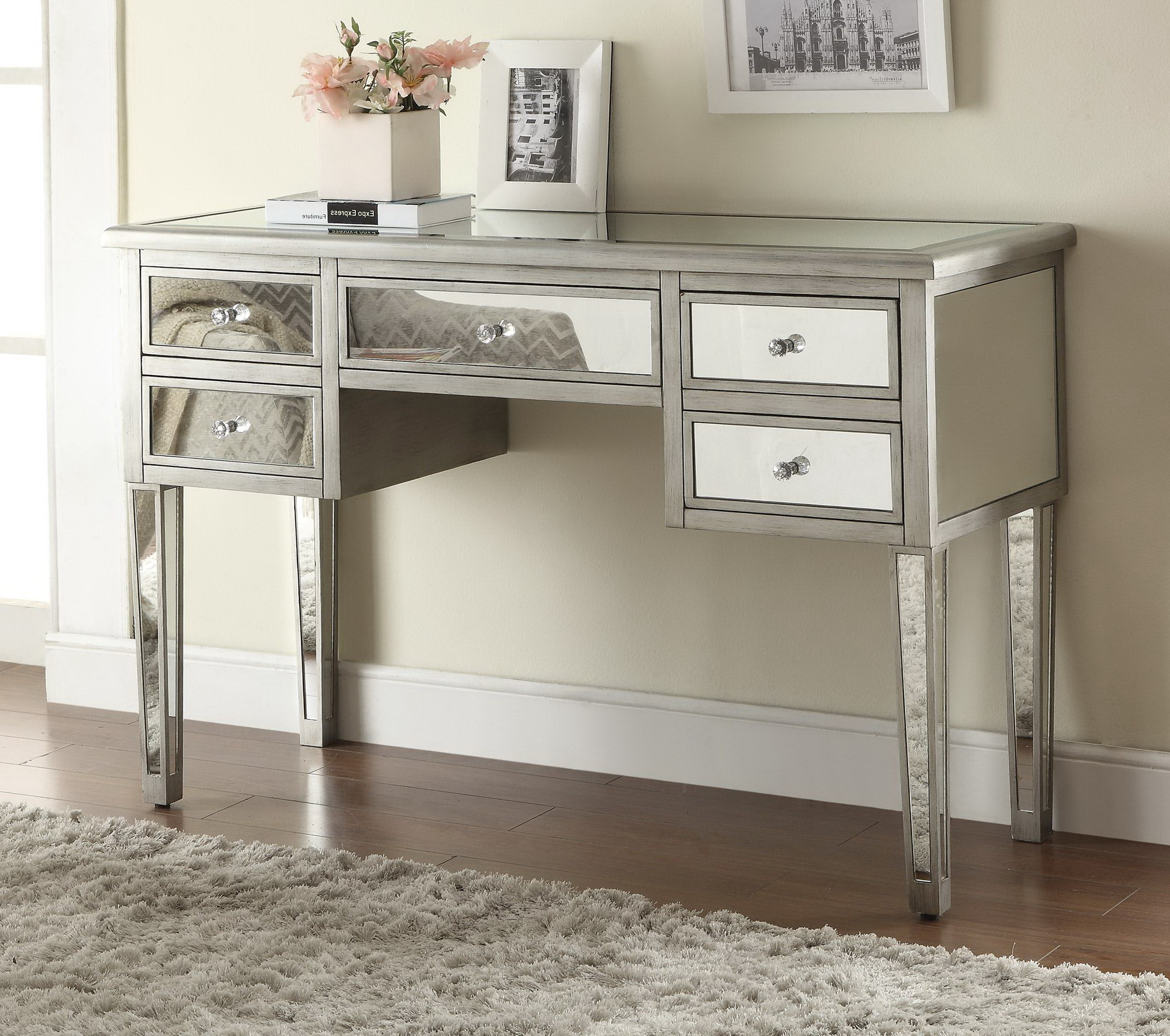 monarch specialties mirrored 38 sofa console table with drawers how to reupholster a sleeper silver signature design by ashley cayne