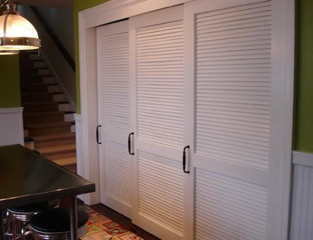 White Louvered Sliding Closet Doors Home Design Ideas