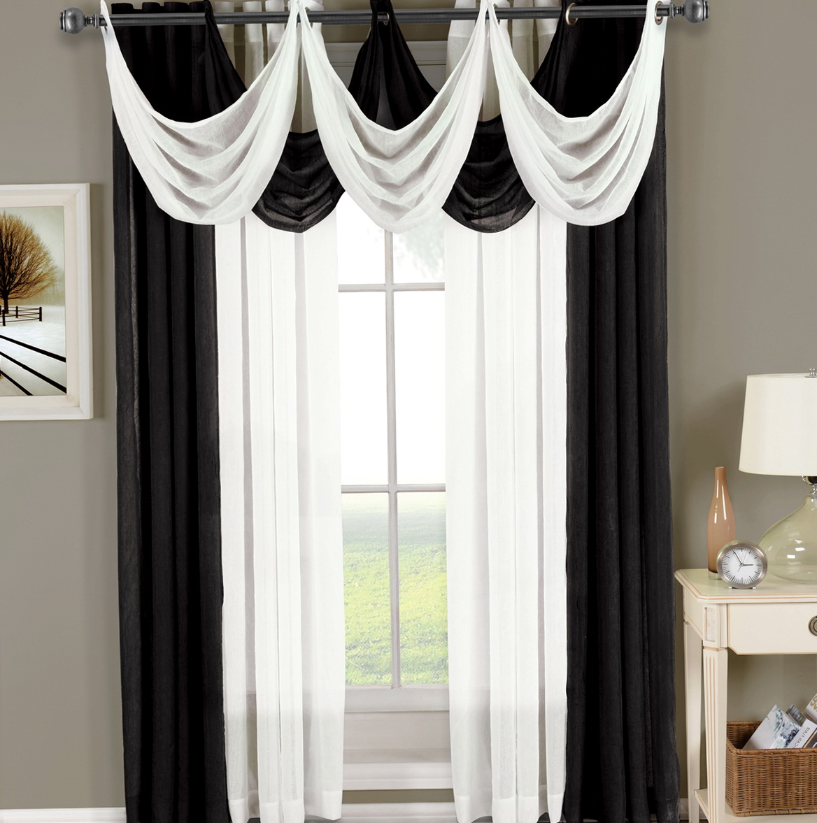 Black And White Sheer Curtains Home Design Ideas