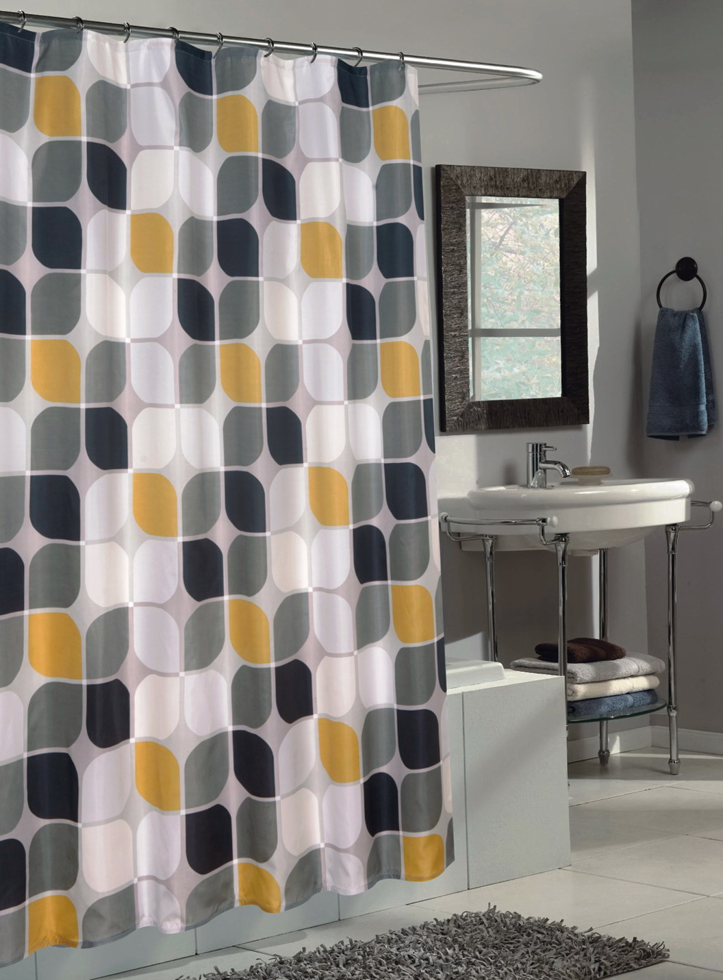 Gray And Yellow Shower Curtains  Home Design Ideas