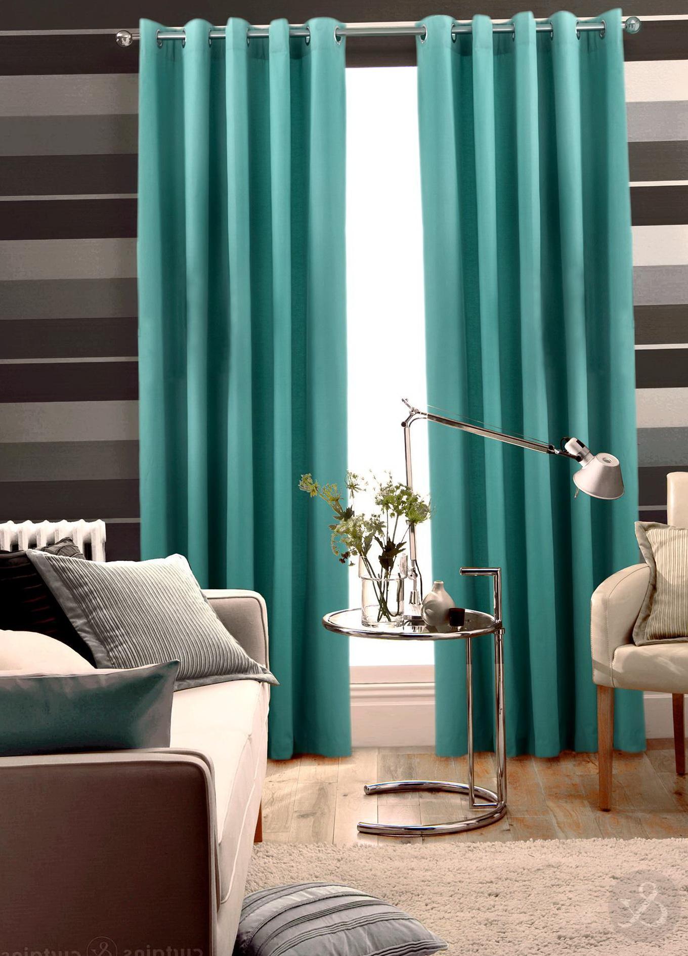 Aqua Blue And Brown Curtains