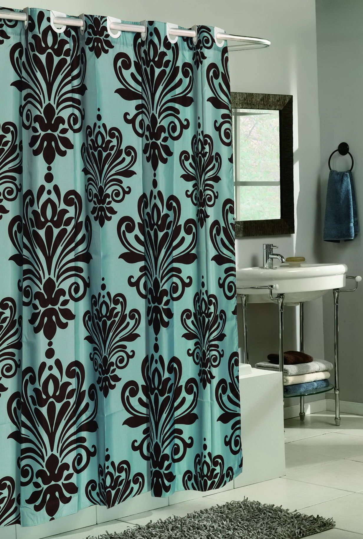 Brown And Blue Shower Curtains Fabric  Home Design Ideas