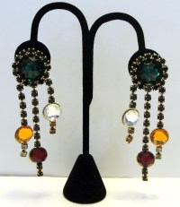 Vintage Rhinestone Chandelier Earrings