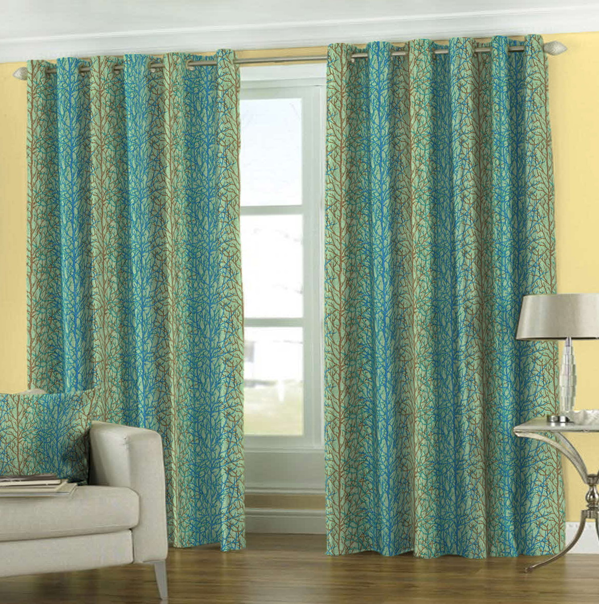 Blue And Green Window Curtains  Home Design Ideas