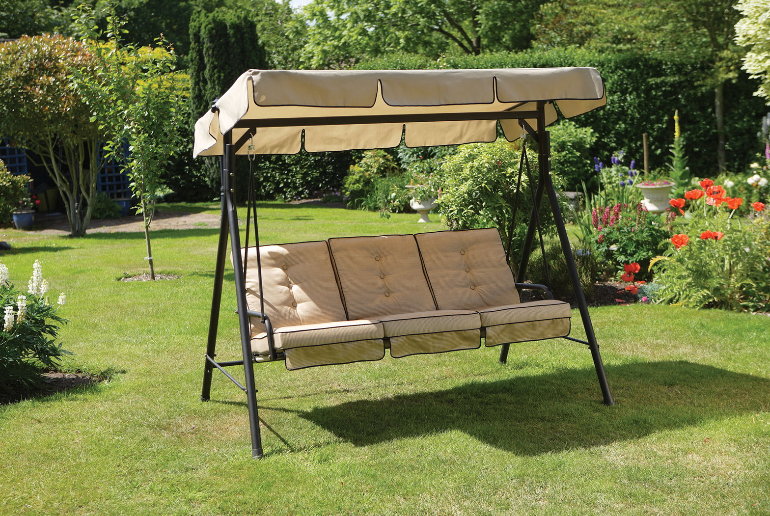 hanging chair lowes chicco high cover replacement porch swing cushions home depot design ideas