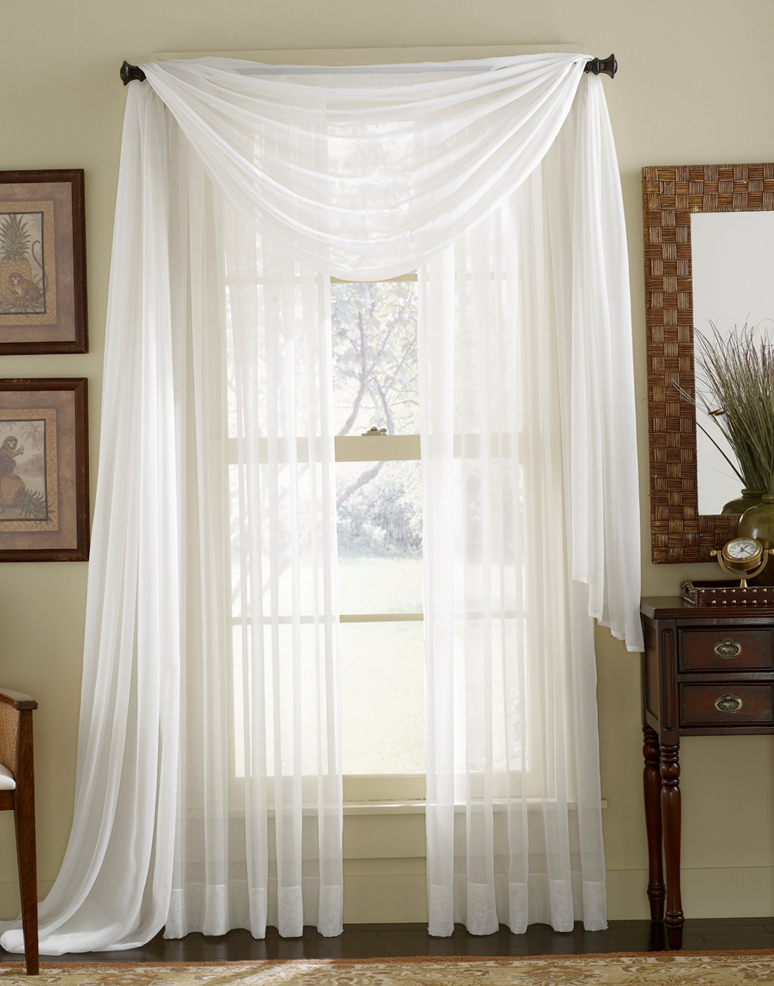 White Sheer Kitchen Curtains  Home Design Ideas