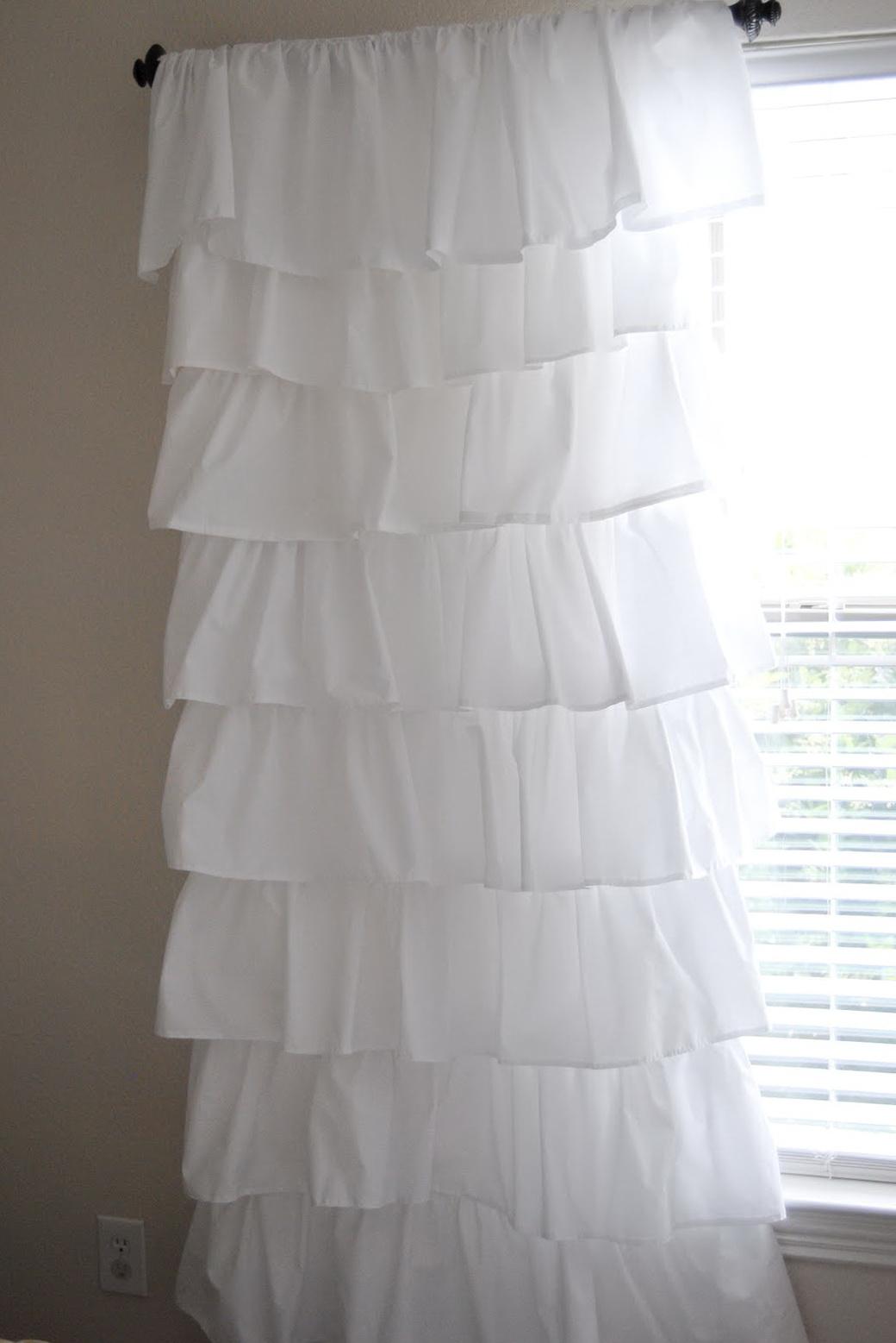 White Ruffle Curtain Panels 96 Home Design Ideas