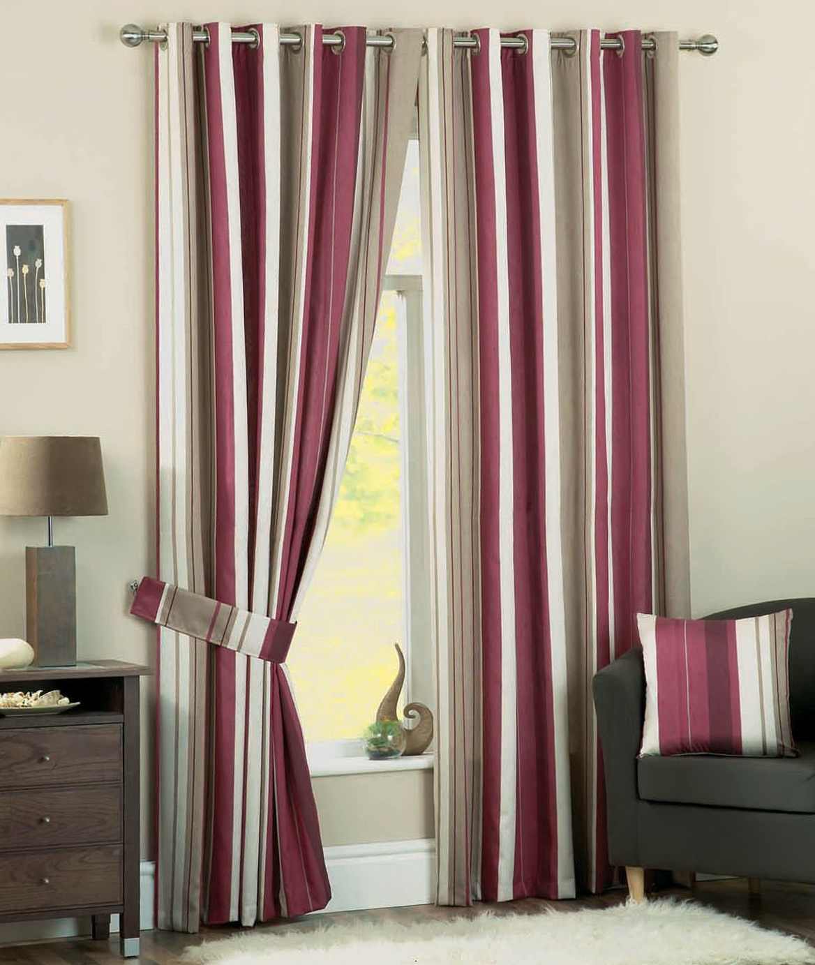 Grey And Pink Striped Curtains Home Design Ideas