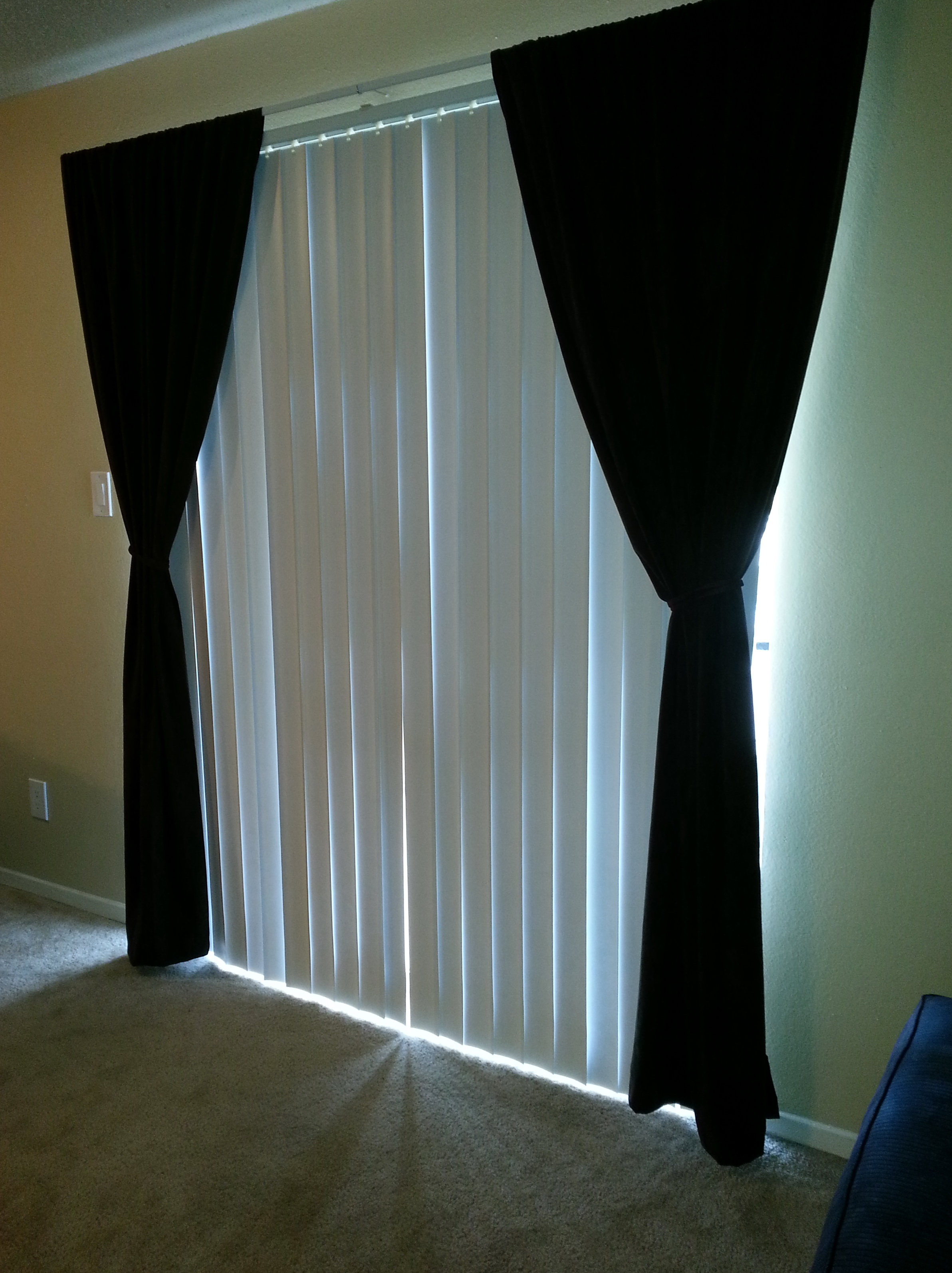 Vertical Blinds And Curtains Together  Home Design Ideas