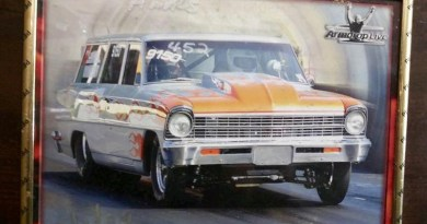 A Chevy station wagon that packs a punch with a 582 cu. in. engine under the hood capable of producing over 1000 horsepower.