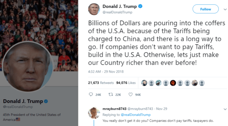 Trump's tweets that tariffs are bringing in mass revenue are not entirely accurate.
