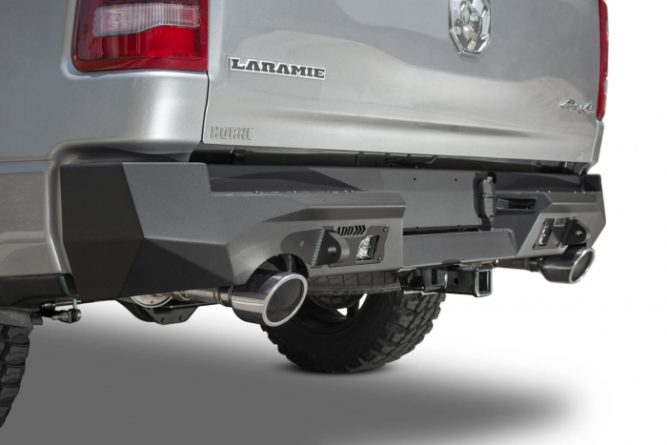 New products from Addictive Desert Designs include this wicked rear bumper for the 2019 RAM 1500 Rebel.