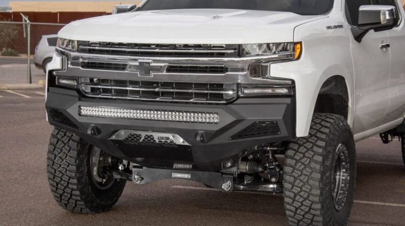 New products from Addictive Desert Designs include this wicked front bumper for the 2019 Chevy Silverado.