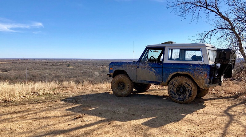 """A 1977 Ford Bronco, previously owned by his father-in-law, Tony Eller, is the current project vehicle for Ryan Duwe of Fort Worth, Texas. """"There it was, just sitting in an Alabama field. Pecans inside. Rusting. Sitting there neglected,"""" says Duwe."""