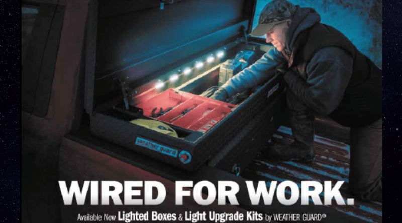 The clever engineers at WeatherGuard have taken the traditional saddle-style toolbox and added ultra-bright LED lighting (600 lumens total) to ensure you can find exactly what you're looking for, no matter what time of day.