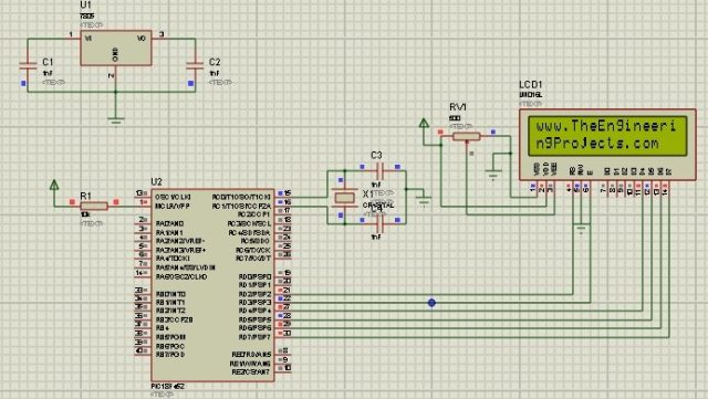 Circuit Designing of LCD with PIC on Proteus ISIS, LCD working code with PIC, LCD proteus circuit with PIC, LCD working in proteus