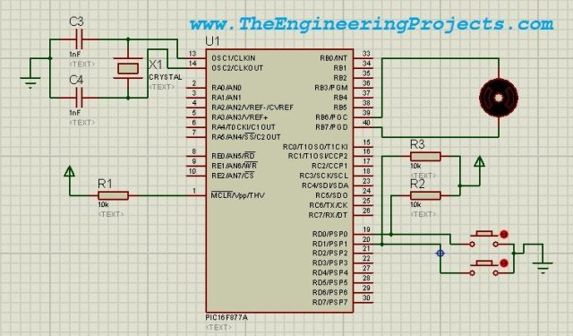DC Motor Drive Circuit in Proteus ISIS, dc motor working circuit,dc motor complete circuit
