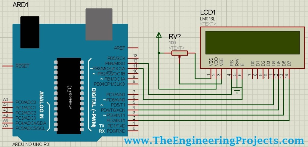 Circuit Designing of LCD with Arduino in Proteus ISIS, LCD simulation with Arduino in proteus, lcd arduino in proteus, lcd with arduino in proteus isis