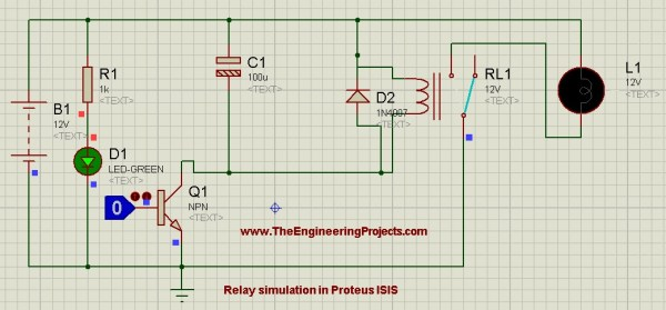 Relay Simulation in Proteus ISIS, control relay, how to use relay in proteus, proteus relay circuit,circuit diagram of proteus,relay as a switch in proteus