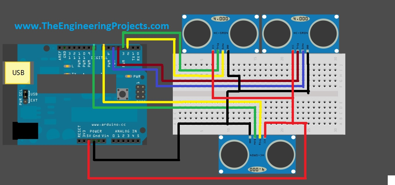 ultrasonic motion detector circuit diagram notes on piano keyboard interfacing of multiple sensor with arduino the sensors code for hcsr04