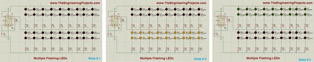 LED Flashing with 555timer, LED flashing in proteus, 555timer simulation in proteus,Proteus simulation of 555 timer