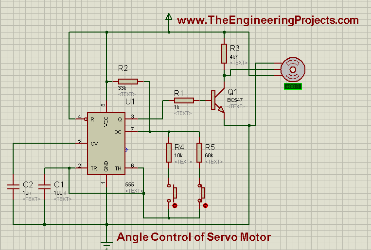 Angle control of servo motor, how to rotate servo motor, how servo motor works, angle control of servo motor using 555timer in proteus isis